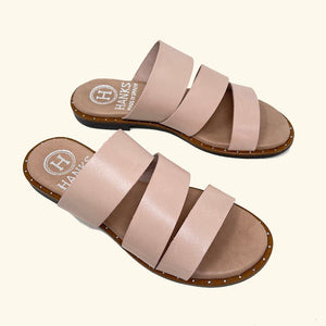 Load image into Gallery viewer, Milos Pink Leather Flat Sandals
