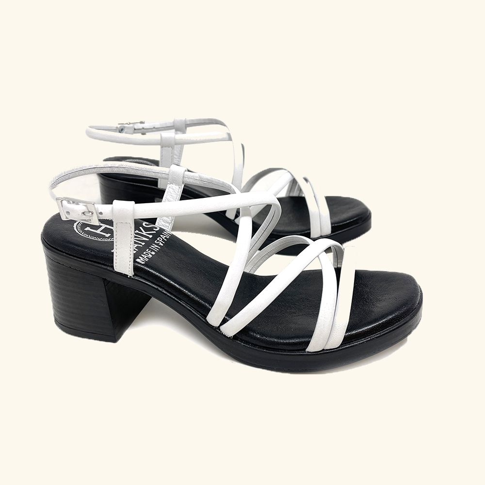 Load image into Gallery viewer, Folegandros White Leather Heeled Sandals