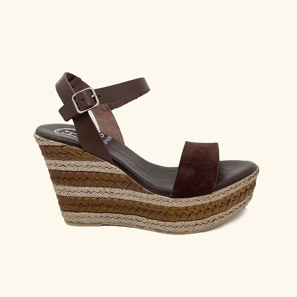 Zante Brown Leather and Split Leather Wedge Sandals
