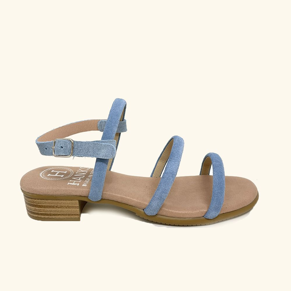 Naxos Blue Leather and Split Leather Flat Sandals
