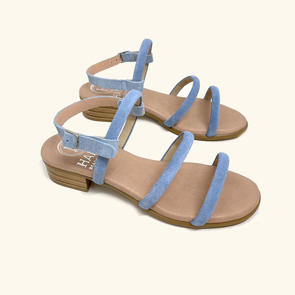 Load image into Gallery viewer, Naxos Blue Leather and Split Leather Flat Sandals