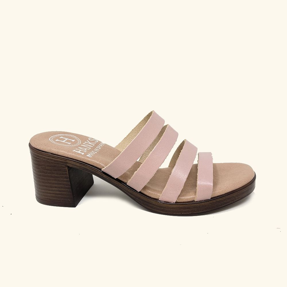 Pink leather Paros heeled sandals