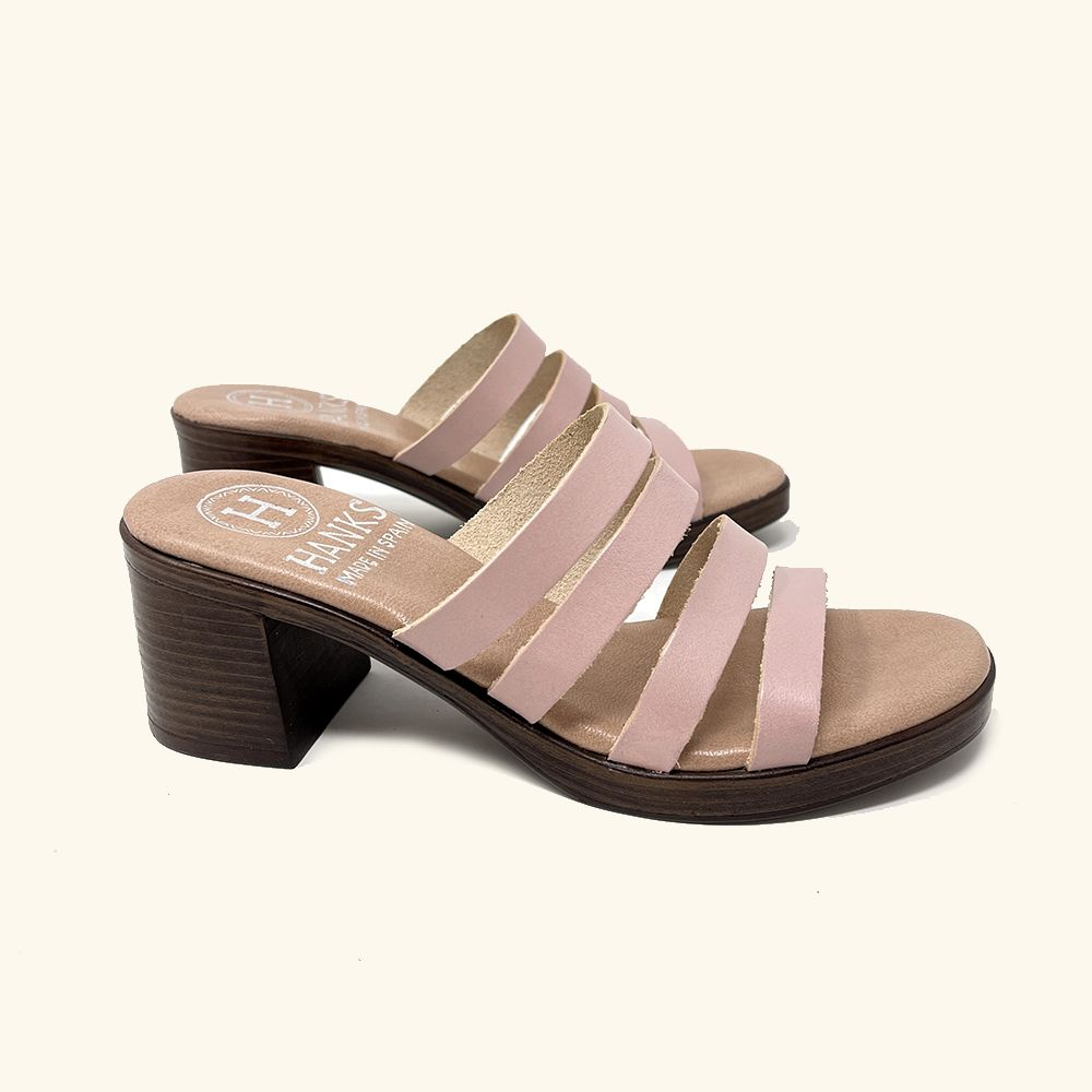 Load image into Gallery viewer, Pink leather Paros heeled sandals