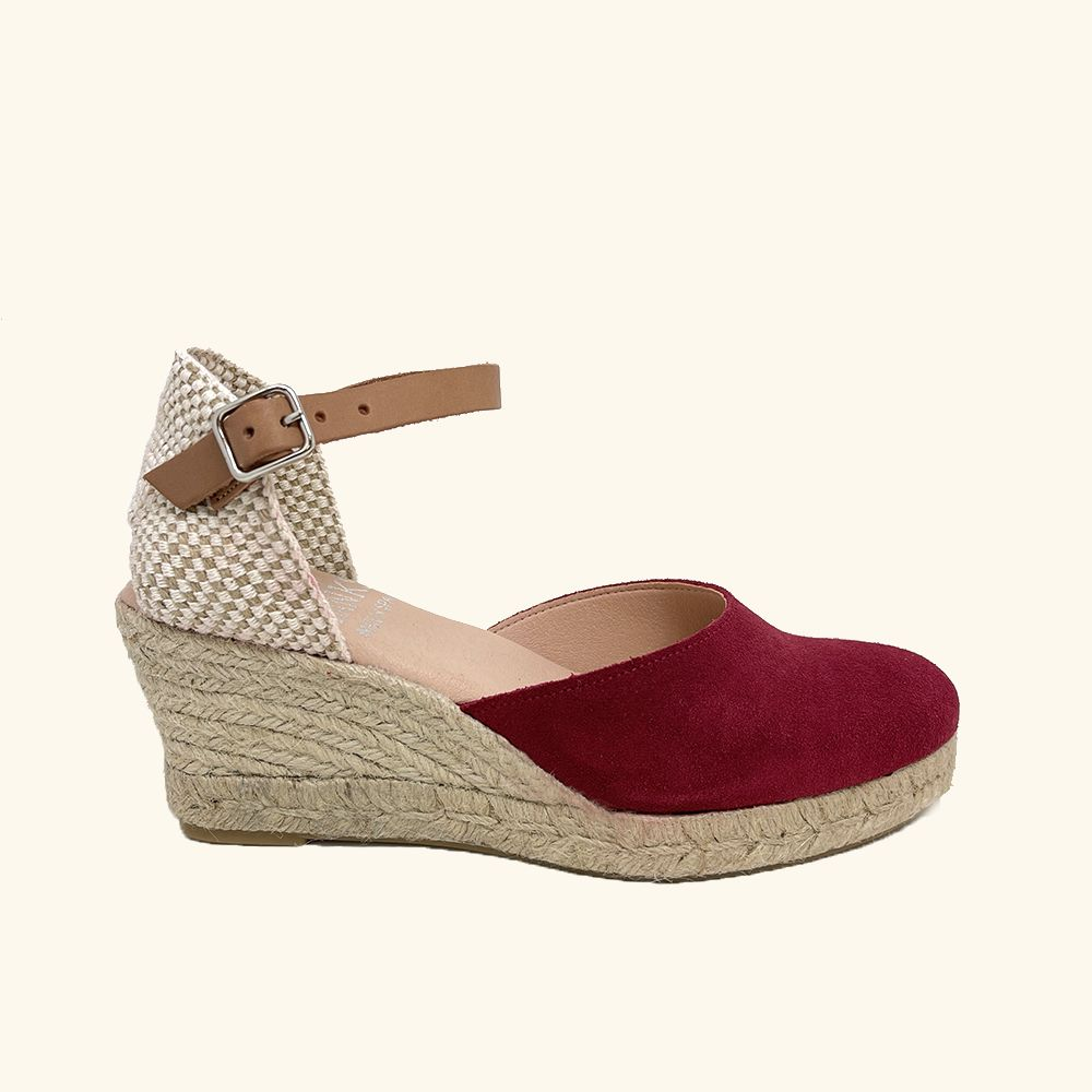 Jute Sandals Amorgos Red Leather and Split Leather