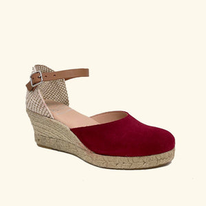 Load image into Gallery viewer, Jute Sandals Amorgos Red Leather and Split Leather