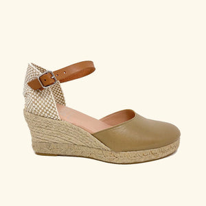 Load image into Gallery viewer, Jute Sandals Amorgos Kaki Leather