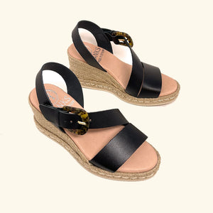 Load image into Gallery viewer, Marmaris Black Leather Wedge Sandals