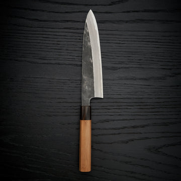 Hitohira Togashi Blue #2 Kurouchi Gyuto 210mm Cherry Wood Handle