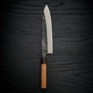 Hitohira Togashi Blue #2 Kurouchi Gyuto 240mm Cherry Wood Handle