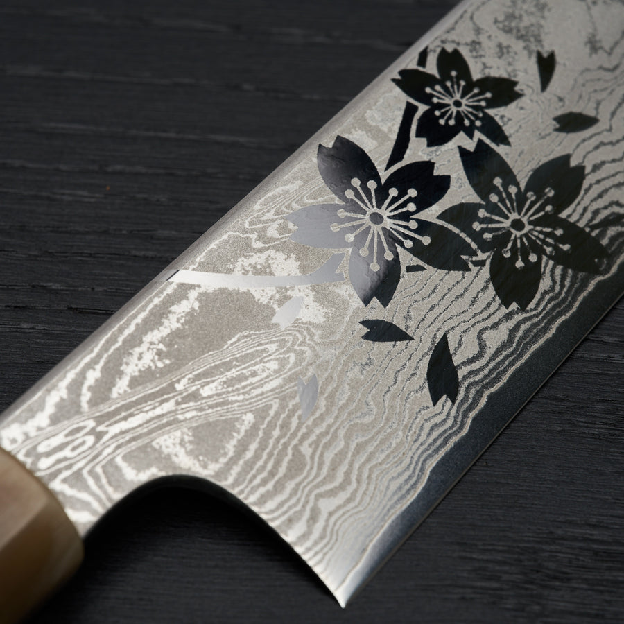 Hitohira Sakura Damascus Gyuto 240mm Sakura Handle (Kambei Sharpening)