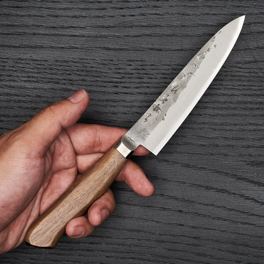Hitohira TD Blue #2 Stainless Clad Nashiji Yo Petty 125mm Walnut Handle