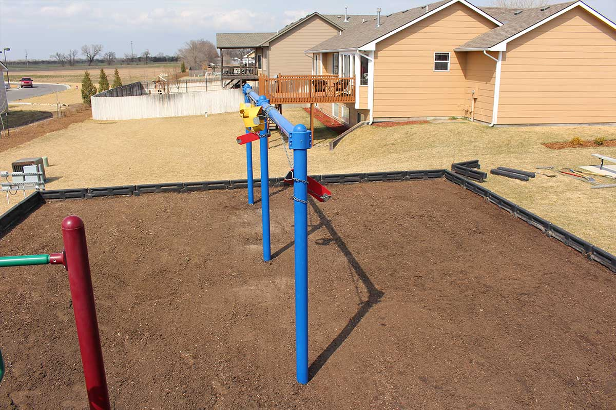 Playground rubber mulch grading and drainage