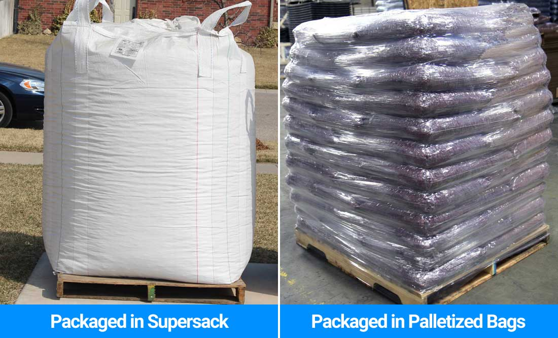 Rubber mulch bulk packaging options include palletized bags or supersack