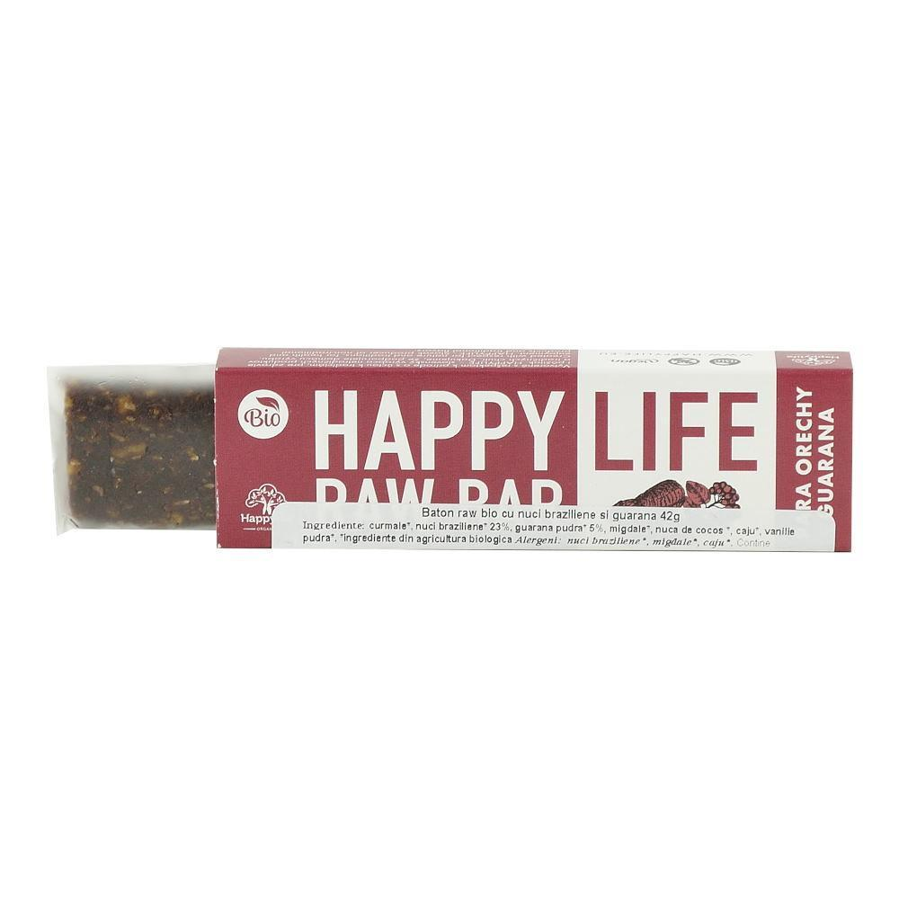 Baton raw cu nuci braziliene si guarana Happy Life, bio, 42 g