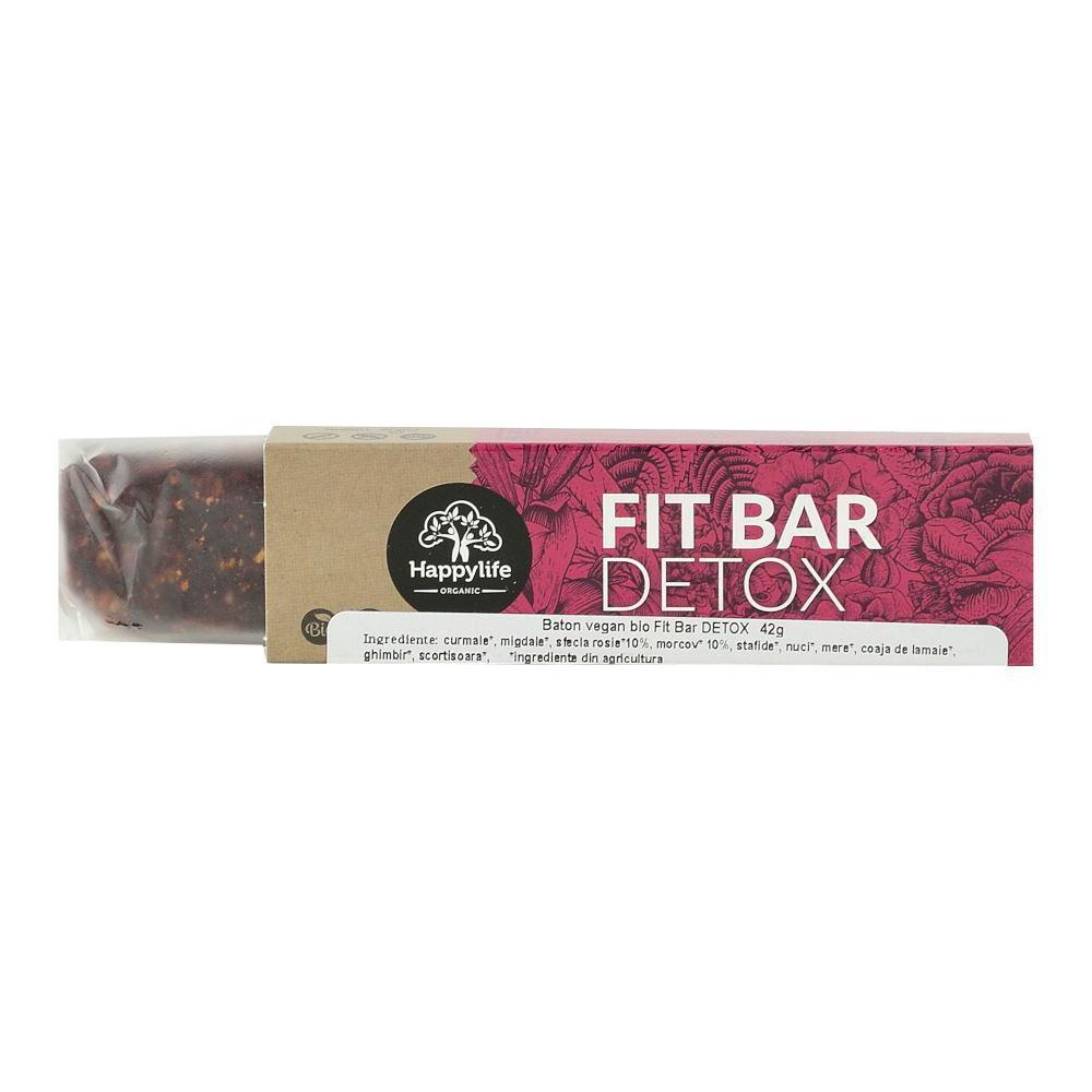Baton vegan Fit Bar DETOX Happy Life, bio, 42 g