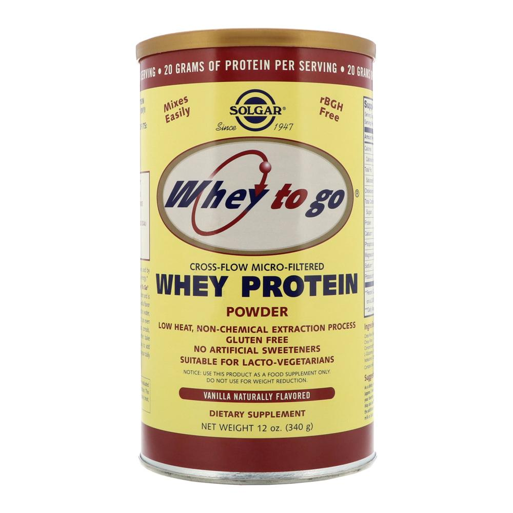 Pudra proteica Whey To Go cu gust de Vanilie 340g, Solgar, natural imgine