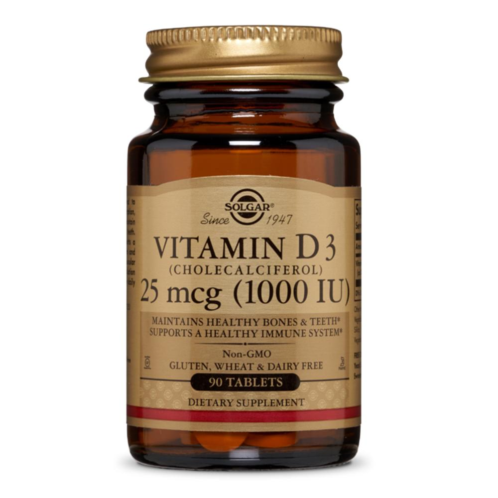 Vitamina D3 (Colecalciferol) 1000IU 90 tablete, Solgar, natural