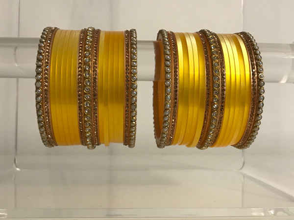 OMBRE / Two Tone Sunshine Yellow Bangles Set
