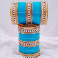 Blue Traditional Pearly Dot Bridal Chura | Your Bangles Exclusive