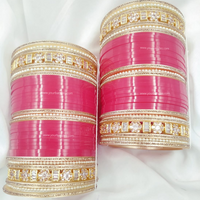 Pink Golden AD Bridal Chura | Your Bangles Exclusive