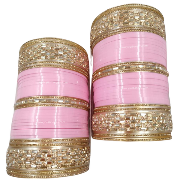 Pink Golden Bridal Chura | Your Bangles Exclusive