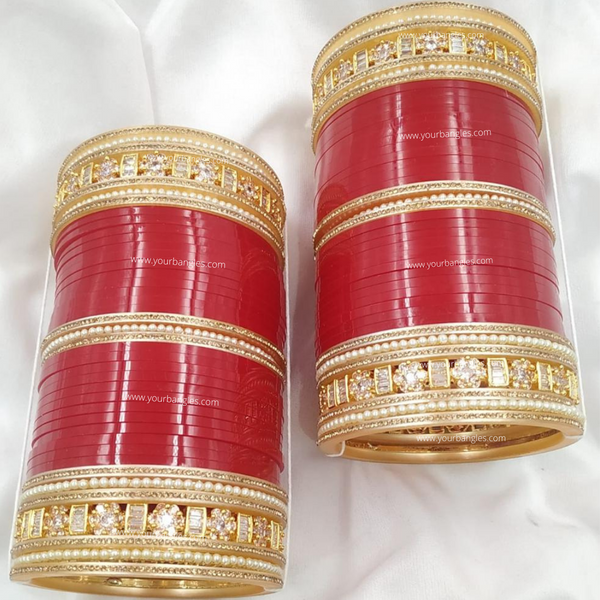 Red Golden AD Bridal Chura | Your Bangles Exclusive