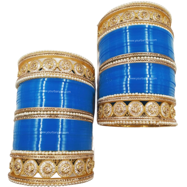 Blue Golden AD Bridal Chura | Your Bangles Exclusive