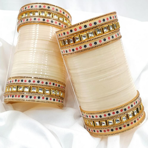 Ivory Dotted Traditional Kundan Bridal Chura | Your Bangles Exclusive