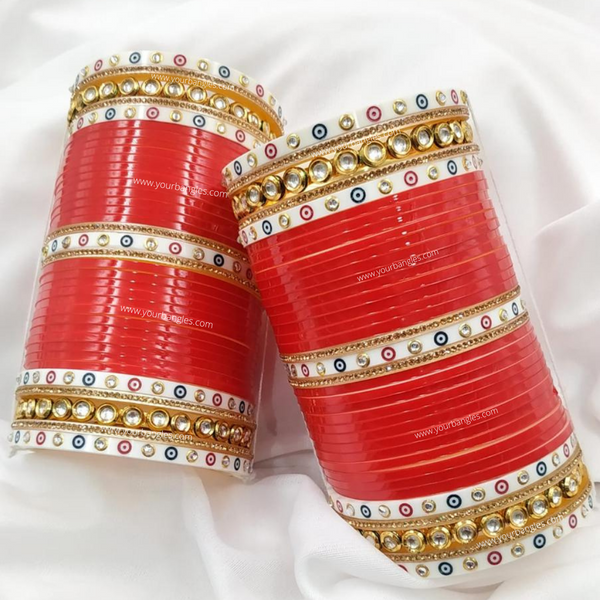 Red Dotted Traditional Kundan Bridal Chura | Your Bangles Exclusive