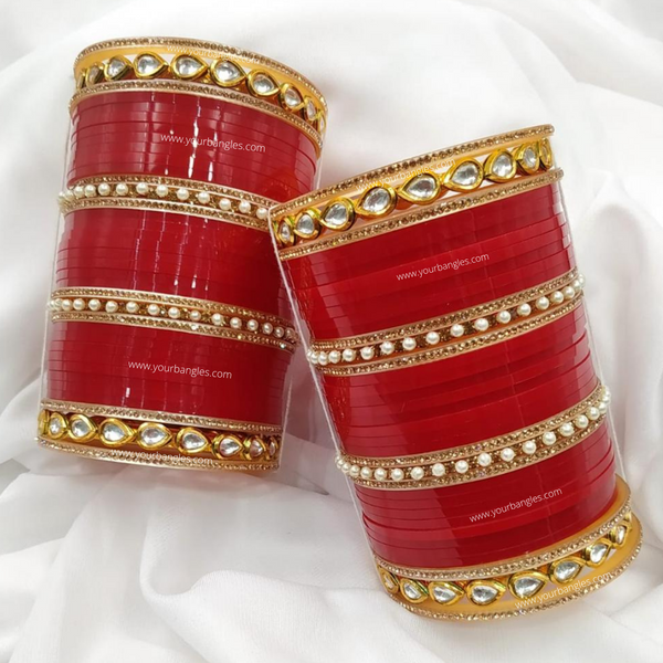 Red Pearly Kundan Bridal Chura | Your Bangles Exclusive