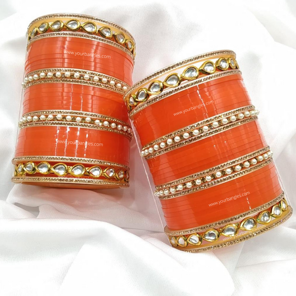 Orange Pearly Kundan Bridal Chura | Your Bangles Exclusive