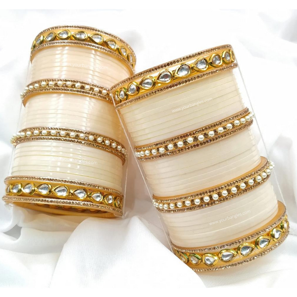 Ivory Pearly Kundan Bridal Chura | Your Bangles Exclusive