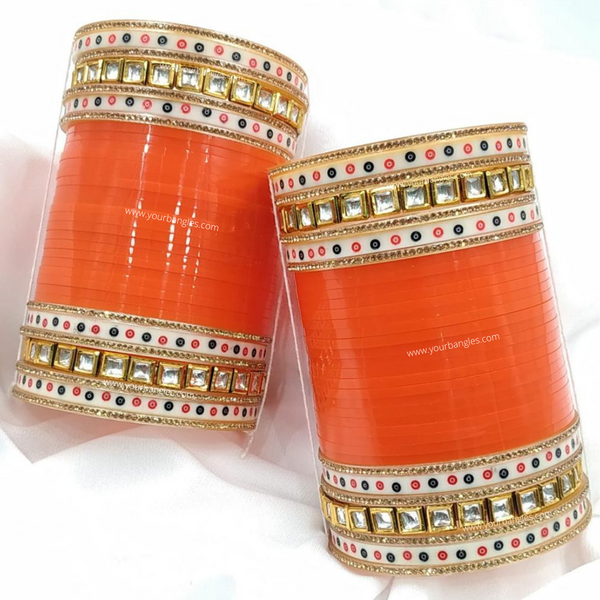 Orange Dotted Traditional Kundan Bridal Chura | Your Bangles Exclusive