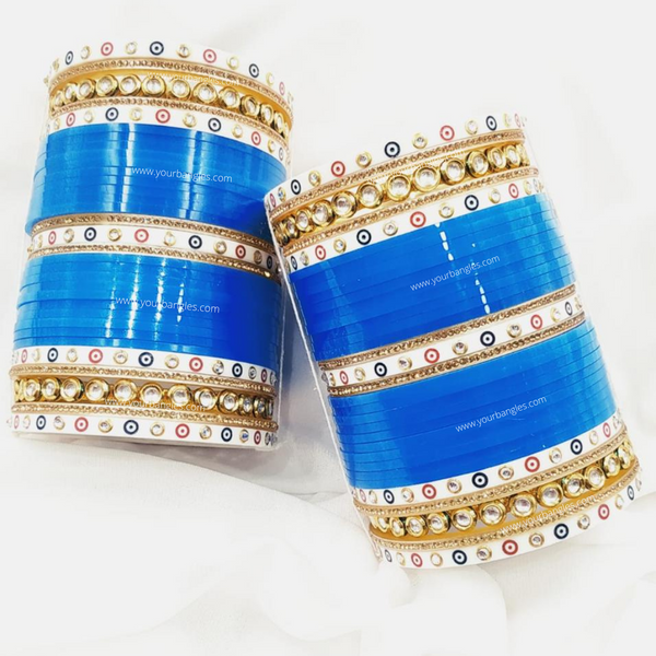 Blue Dotted Traditional Kundan Bridal Chura | Your Bangles Exclusive