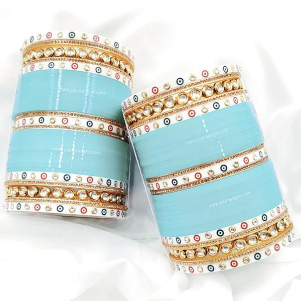 Dotted Traditional Kundan Bridal Chura | Your Bangles Exclusive