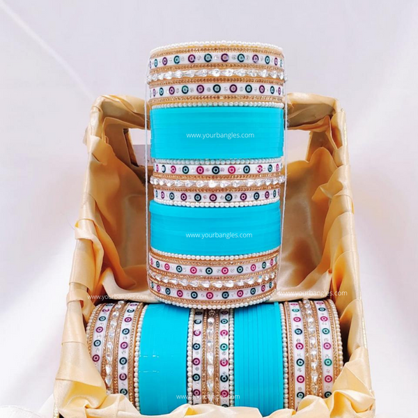 Blue Silver Traditional Dot Bridal Chura | Your Bangles Exclusive