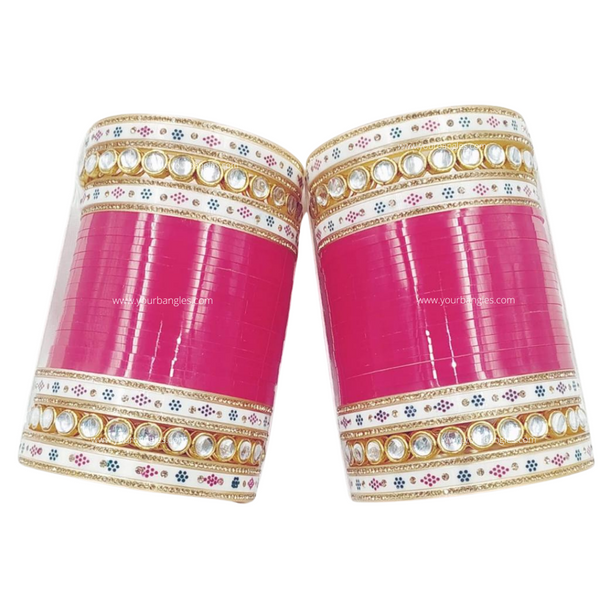Pink Traditional Kundan Bridal Chura | Your Bangles Exclusive