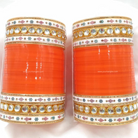 Orange Traditional Kundan Bridal Chura | Your Bangles Exclusive