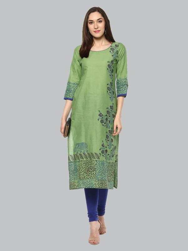 Pastel Green And Blue Ajrakh Hand Block Cotton Printed Kurta