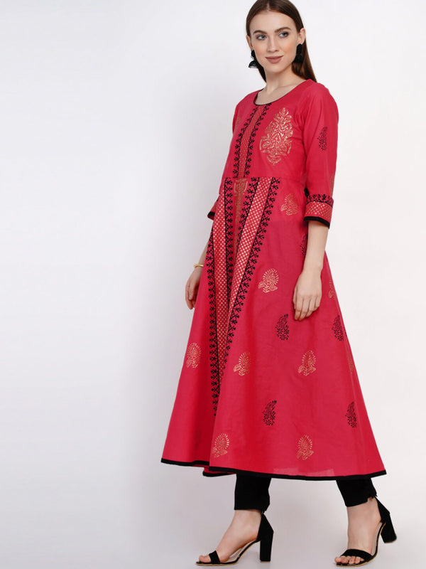 Coral Red Hand Block Cotton Printed Anarkali