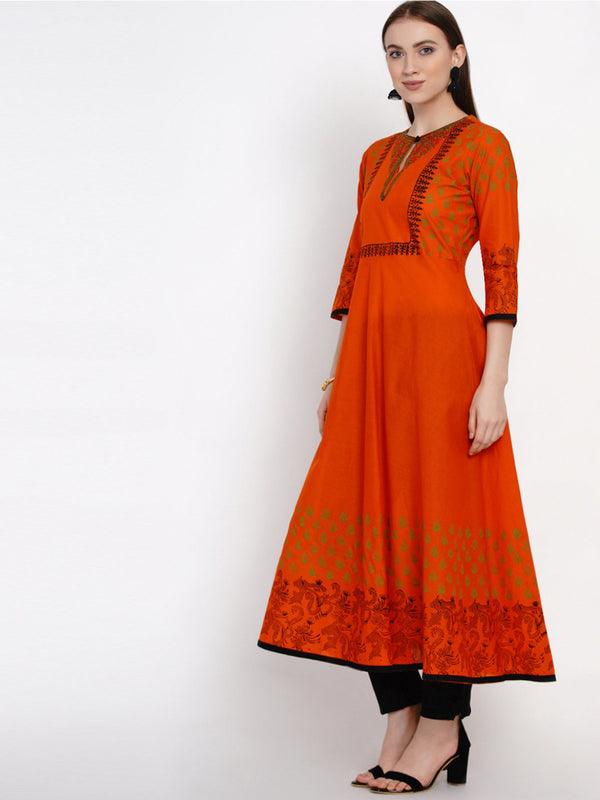 Orange and Black Ajrakh Hand Block Cotton Printed Anarkali