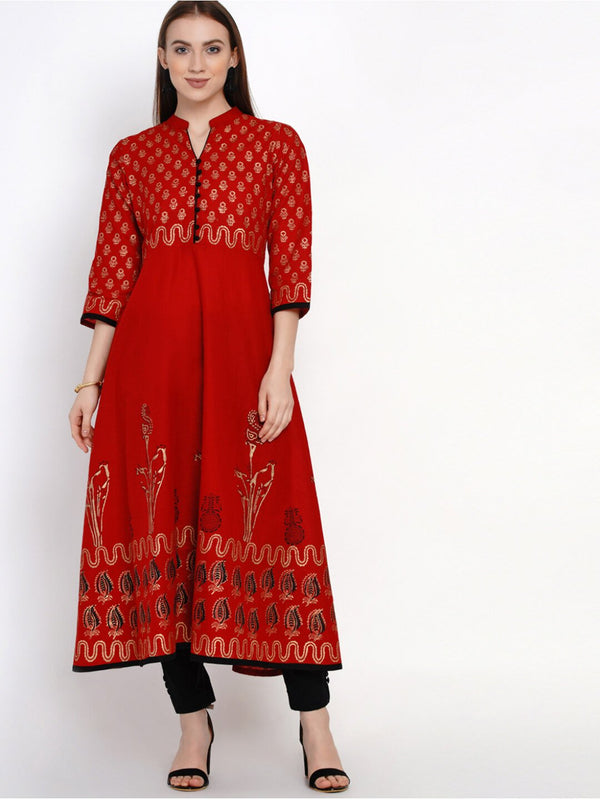 Golden and Red Anarkali with Ajrakh Hand Block Print
