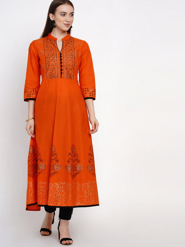 Orange Festive Ajrakh Hand Block Cotton Printed Anarkali