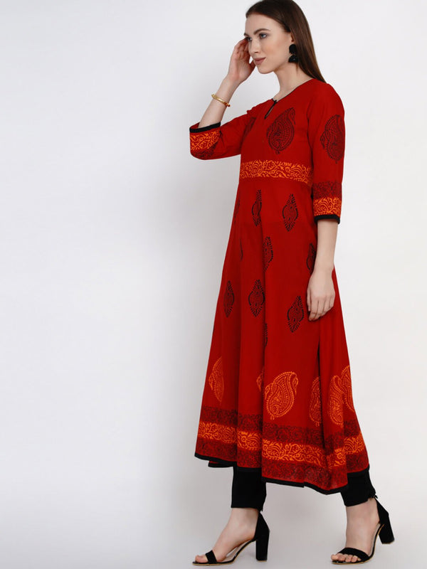 Dark Red Festive Ajrakh Hand Block Cotton Printed Anarkali
