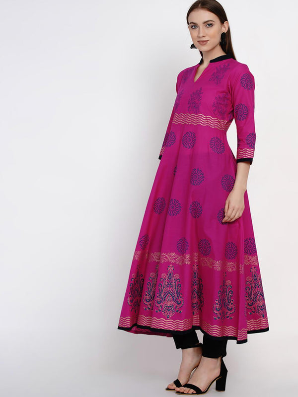 Magenta Floral Cotton Anarkali with Ajrakh Hand Block Print