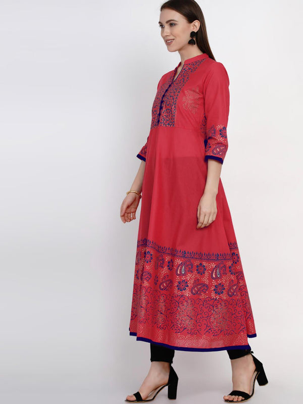 Fuschia Festive Ajrakh Hand Block Cotton Printed Anarkali