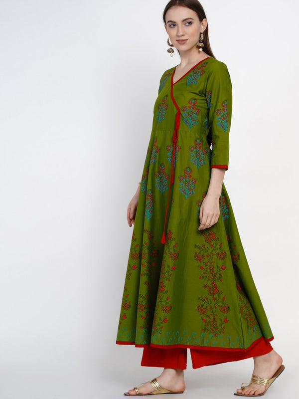 Green Overlap Cotton Anarkali with Ajrakh Hand Block Print
