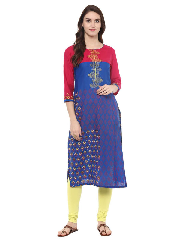 Navy Blue And Red Color Cotton Printed Kurta