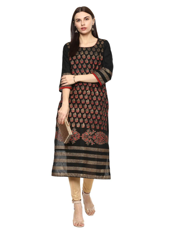 Black Ajrakh Hand Block Cotton Printed Straight Kurta With Overall Print