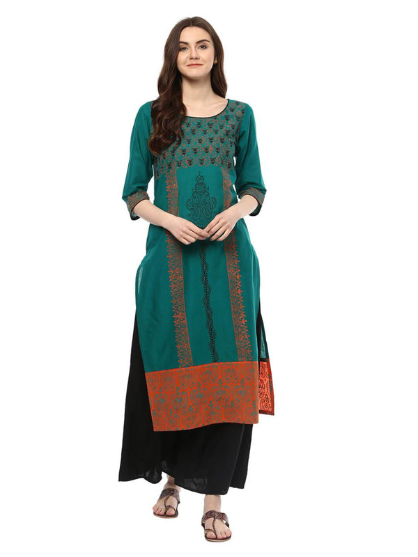 Peacock Blue Ajrakh Hand Block Cotton Printed Straight Kurta